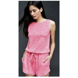 Gap Neon Pink Softspun Knit Scoop Back Romper